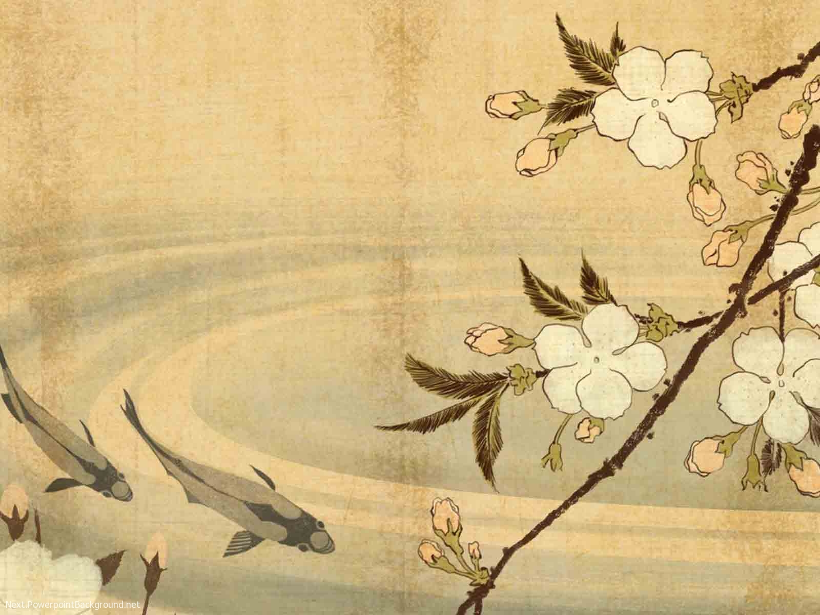 Japanese fish and flower painting background next japanese fish and flower painting background toneelgroepblik Image collections
